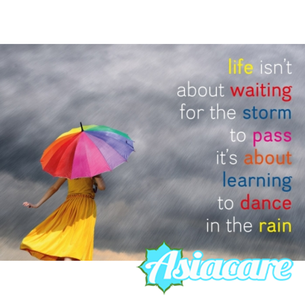 """Поздравителна картичка """"Life isn't about waiting for the storm to pass, it's about learning to dance in the rain"""""""